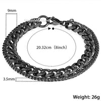Unique Men's Bracelet Double Chain Bracelet - Silver, Gold or Black