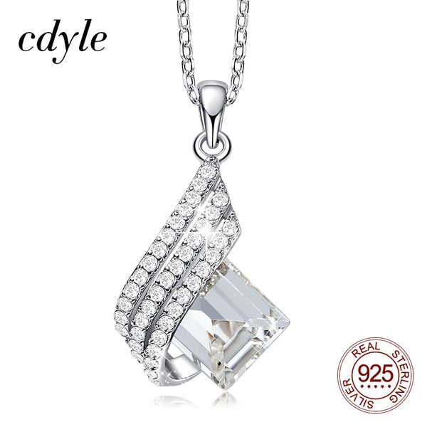 Elegant 925 Sterling Silver Jewelry Clear Crystal Geometric Pendant Necklace
