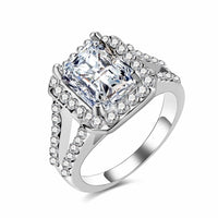 Zircon Engagement Ring Ladies Square Geometry AAA Zircon Austria Crystal