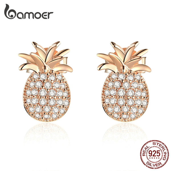 bamoer Genuine 925 Sterling Silver Pineapple Stud Earrings - CZ Paved Luxury Rose Gold