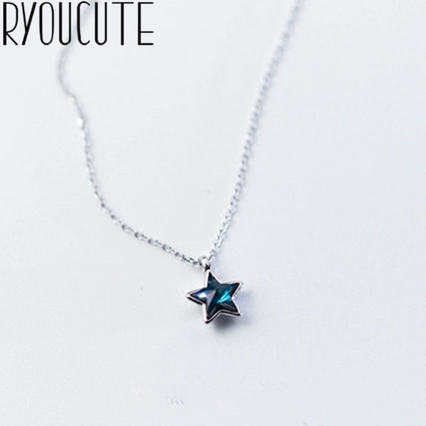 Blue Star Long Choker Necklaces For Women  Real 925 Sterling Silver