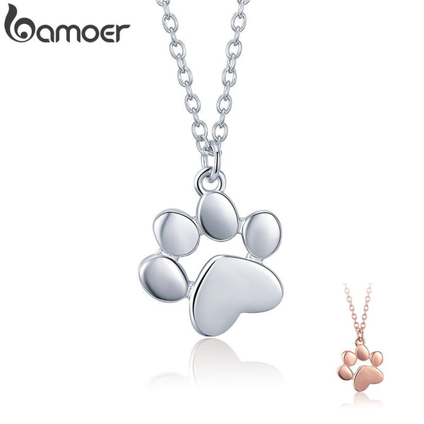 BAMOER 925 Sterling Silver Cute Paw Necklaces Pendants for Women Footprints Paw