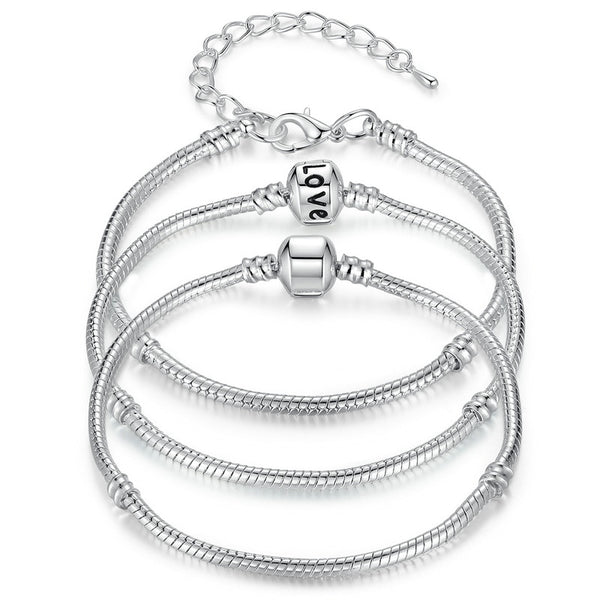 BAMOER 5 Different Styles Silver Color Chain Bracelet & Bangle