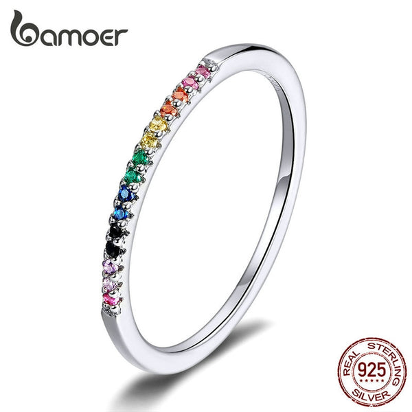 Rainbow Color CZ Finger Rings for Women Stackable Sterling Silver 925 Jewelry