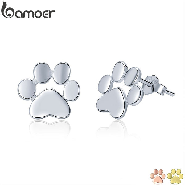 BAMOER 925 Sterling Silver Cute Paw Stud Earrings for Women