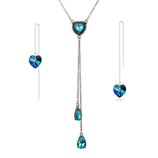 Crystal Heart Pendant Necklace Set Blue Crystal Silver Color Dangle Earrings