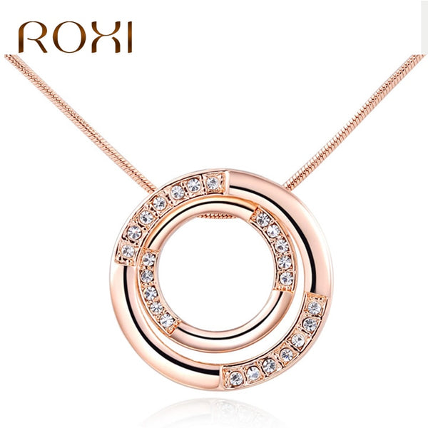 ROXI Beautiful Necklace Rose Gold Color Double Round Pendant Necklace for Woman Crystal Necklace