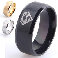 8mm Superman 316L Stainless Steel finger rings for men women