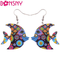 Bonsny  Acrylic  Ocean Fish Long Earrings