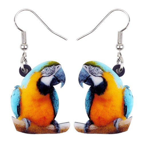Blue-and-Yellow Macaw Parrot Earrings