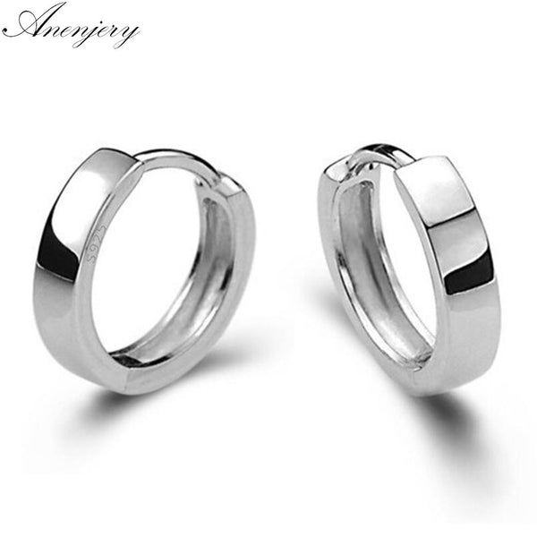 925 Sterling Silver Smooth Surface Stud Earrings For Women Men