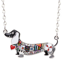 Bonsny Enamel Statement Maxi Pet Dachshund Dog Choker Necklace