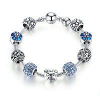 BAMOER Antique Silver Charm Bracelet & Bangle with Love and Flower Beads