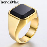 Men's Ring Smooth 316L Stainless Steel with Black CZ Silver or Gold Color