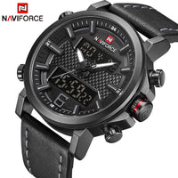 NAVIFORCE New Men's Sport Watch Men Leather Band Quartz Watches Date LED Analog