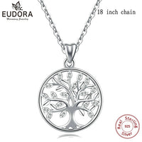 EUDORA 100% 925 Sterling Silver Tree of life Pendant Necklaces
