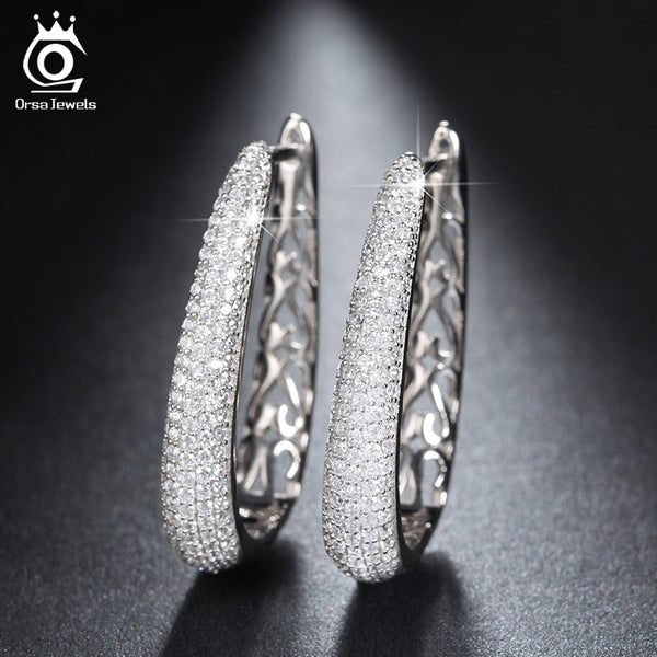 Luxury Silver Color Hoop Earrings Paved with AAA Austrian Cubic Zirconia