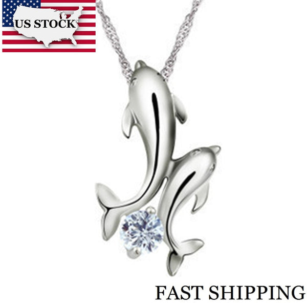 Double Dolphin Silver Necklace Pendants