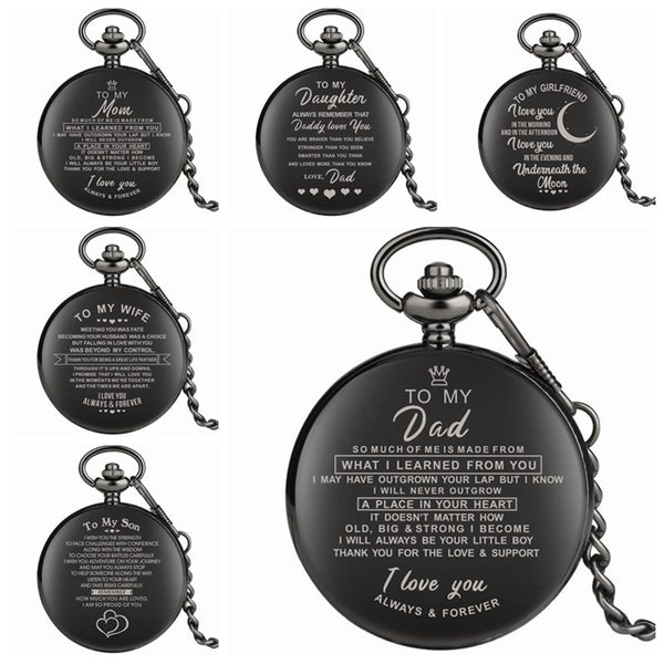 I LOVE YOU Quartz Pocket Watch with Chain Watch 6 Variants