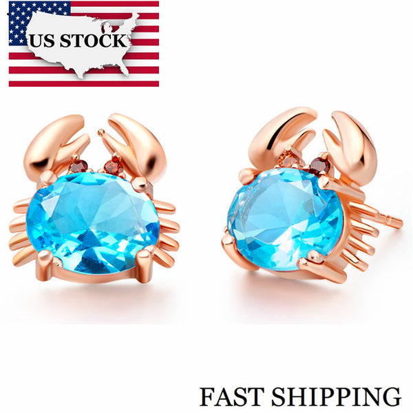 Cute Crab Stud Earrings for Women Vintage Cubic Zirconia