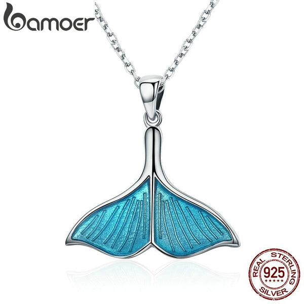 BAMOER 925 Sterling Silver Ocean Sea Blue Enamel Fish Whale's Tail Mermaid Pendant Necklaces