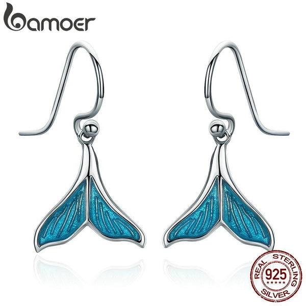 BAMOER Authentic 925 Sterling Silver Ocean Sea Whale's Tail Mermai Drop Earrings