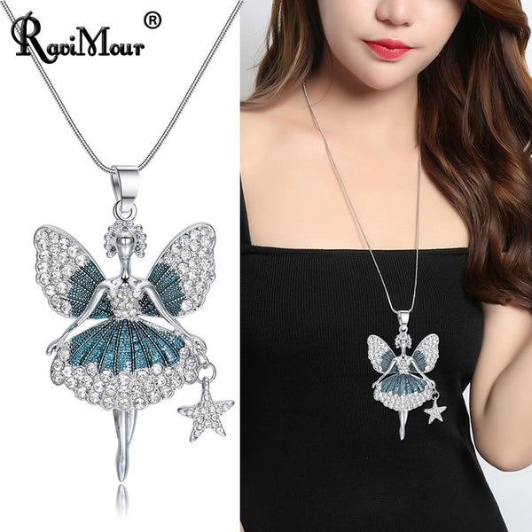 Large Green Angel Statement Necklaces for Women