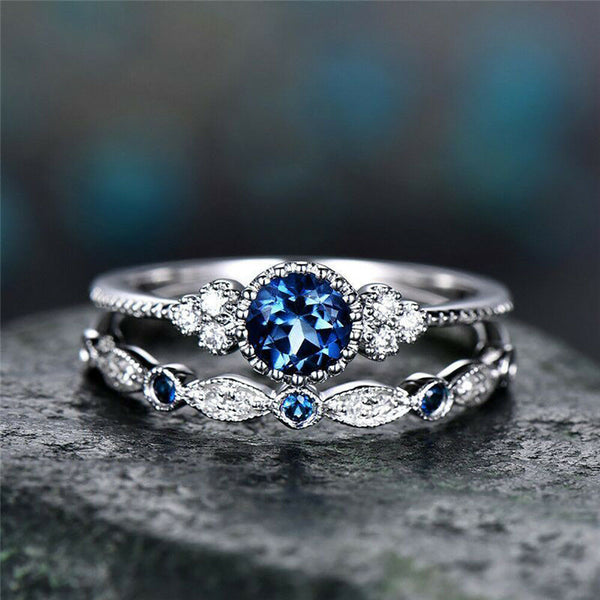 925 Silver Round Cut Dark Blue Sapphire Women Double Ring