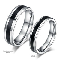 Stainless Steel Band with Black Titanium Ring