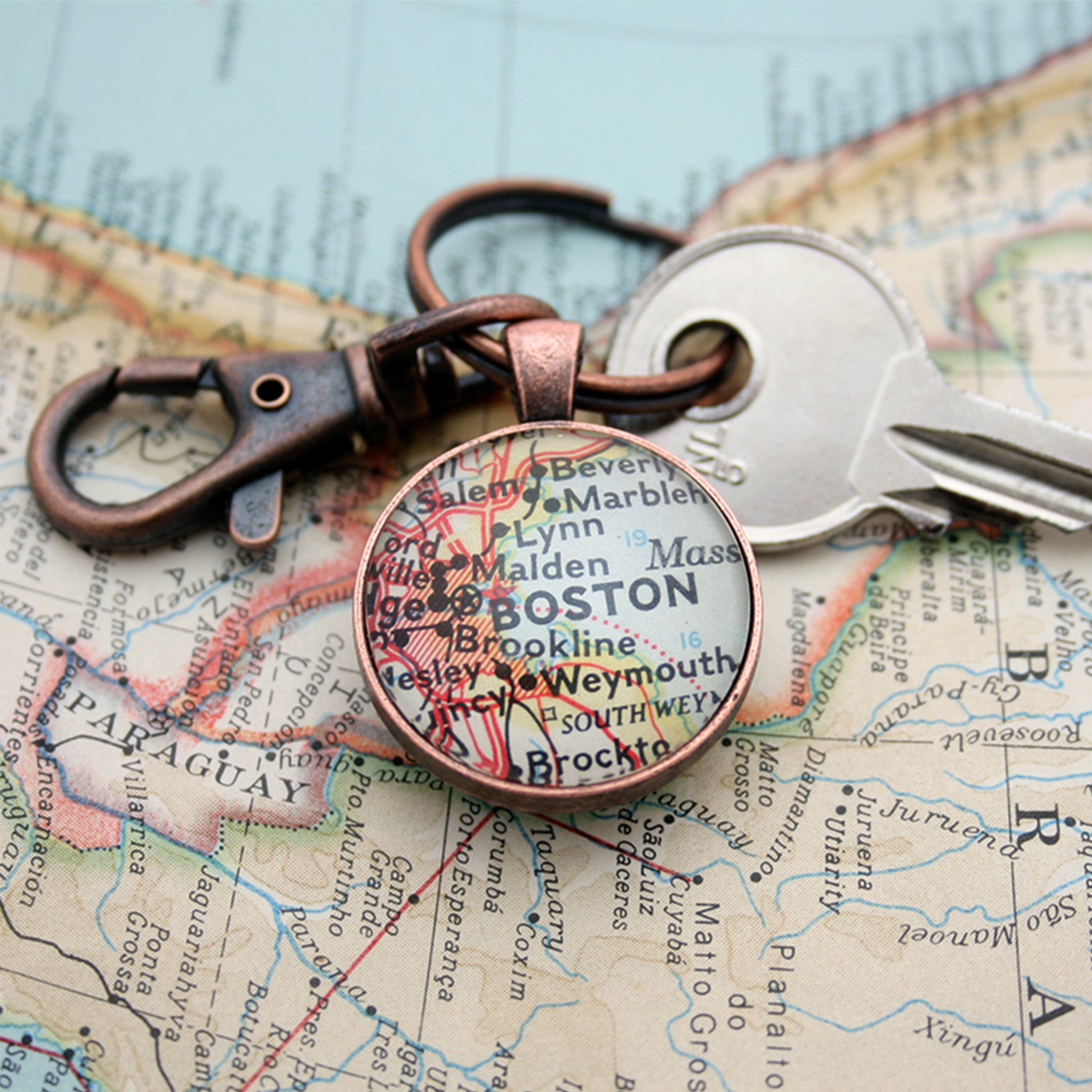 personalized keyring with custom map