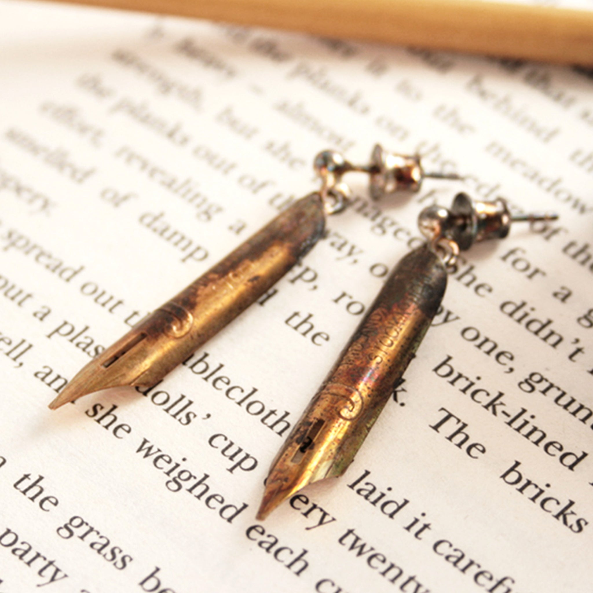 pen nib earrings