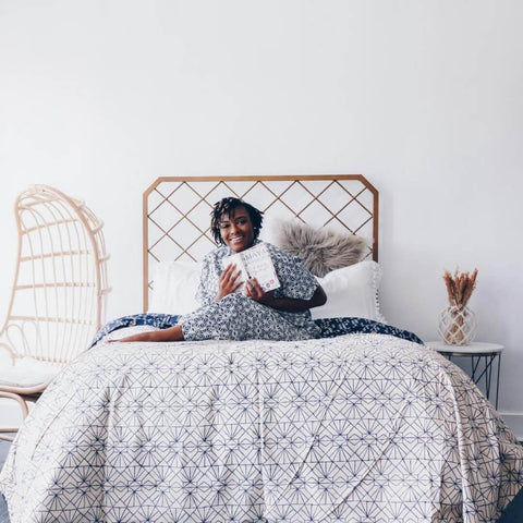 organic cotton duvet in white and blue palette