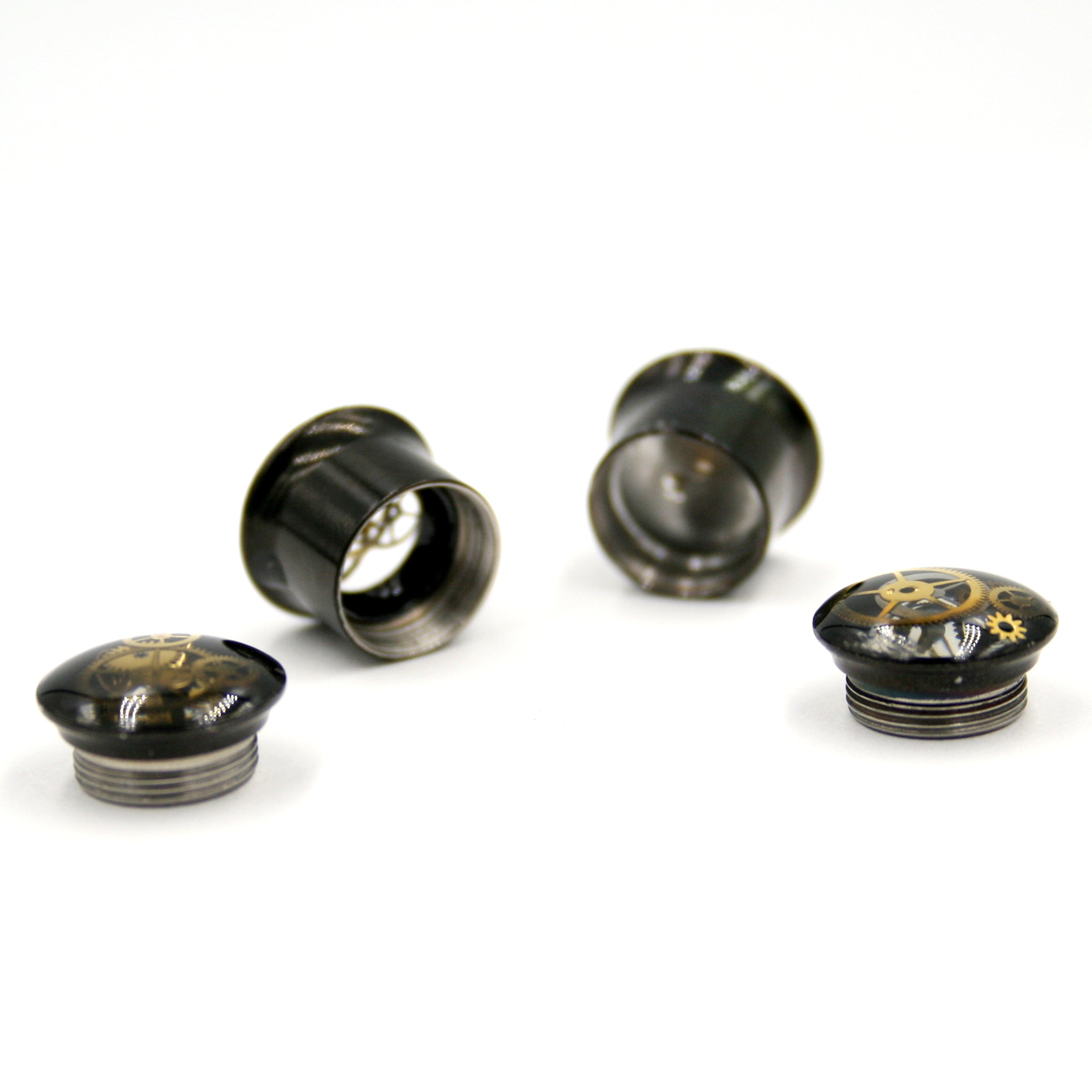14mm screw back black ear gauges in steampunk style