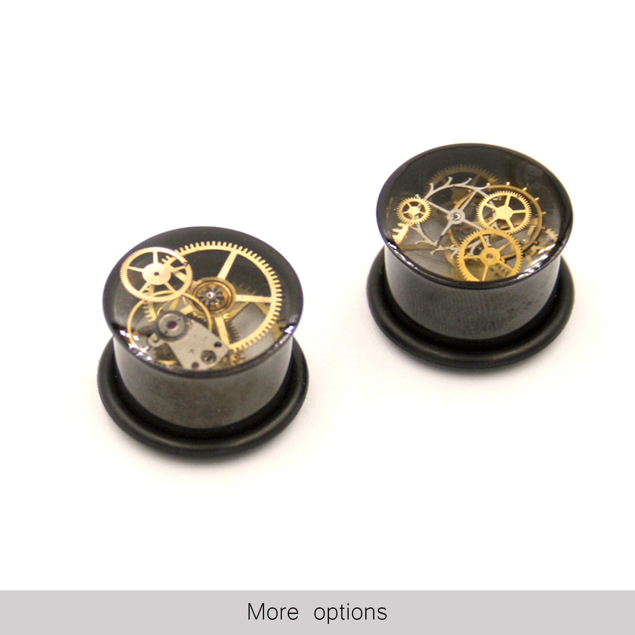 14mm o-ring black ear gauges in steampunk style