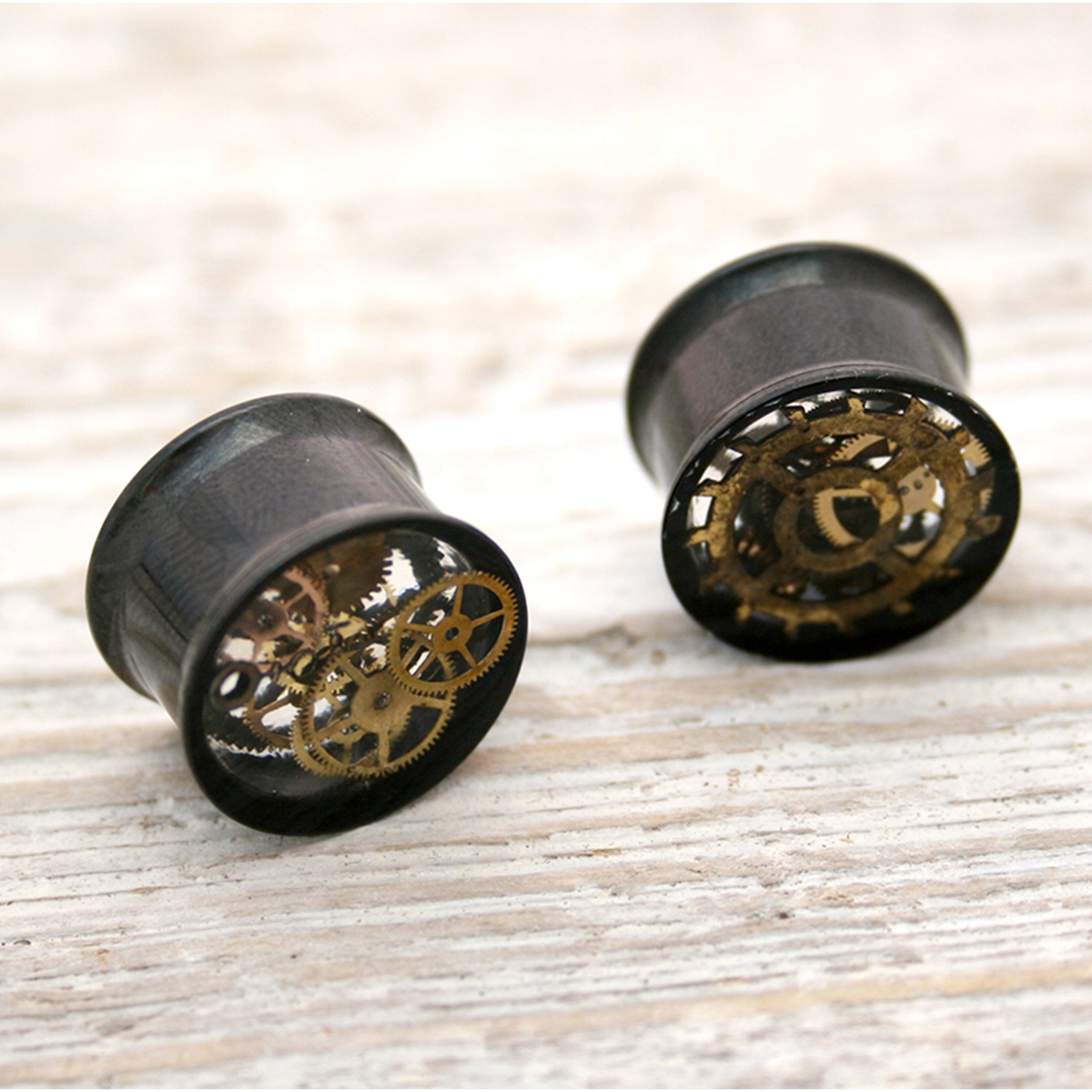 Cool 16mm double flare ear gauges in steampunk style