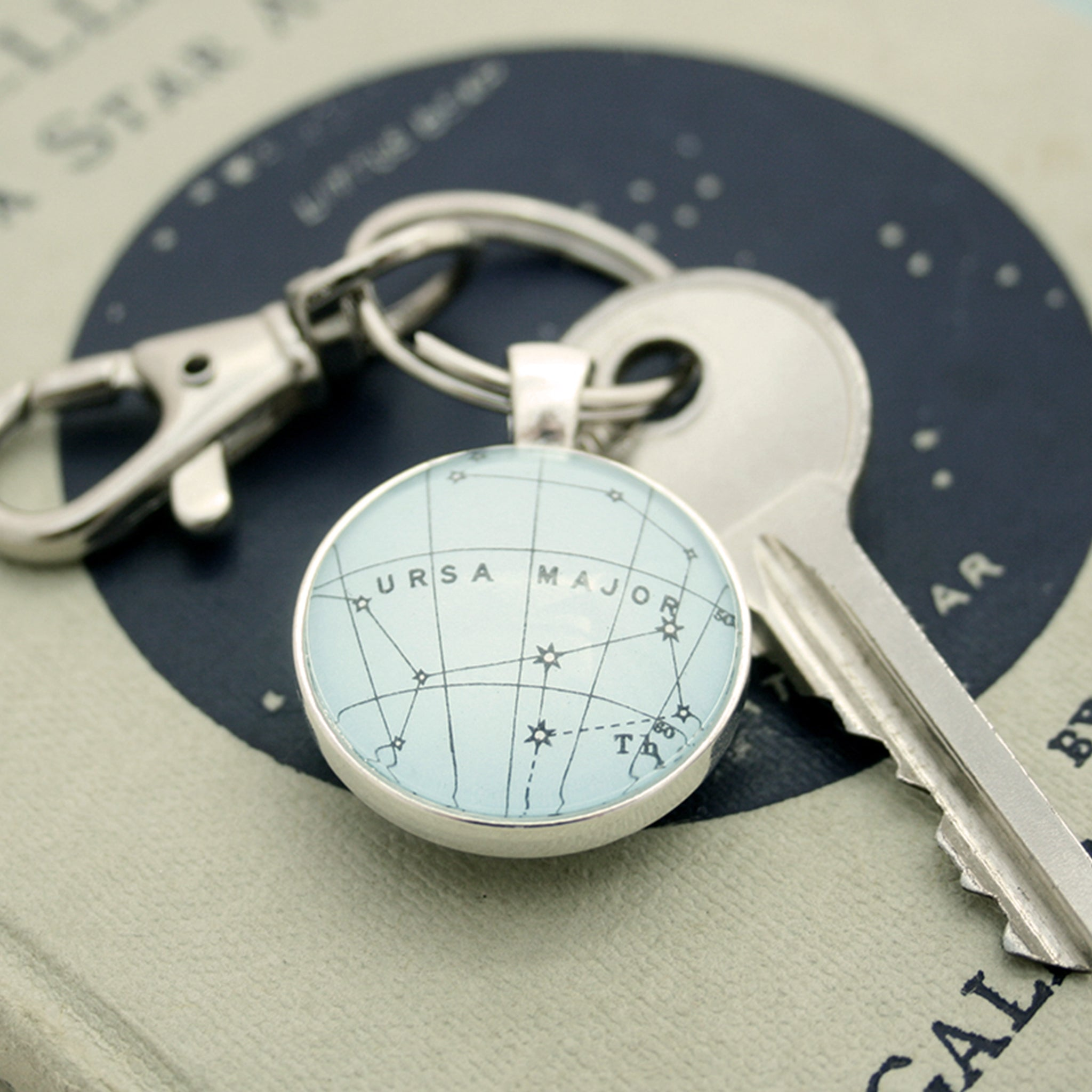 Ursa Major Constellation keychain in silver tone