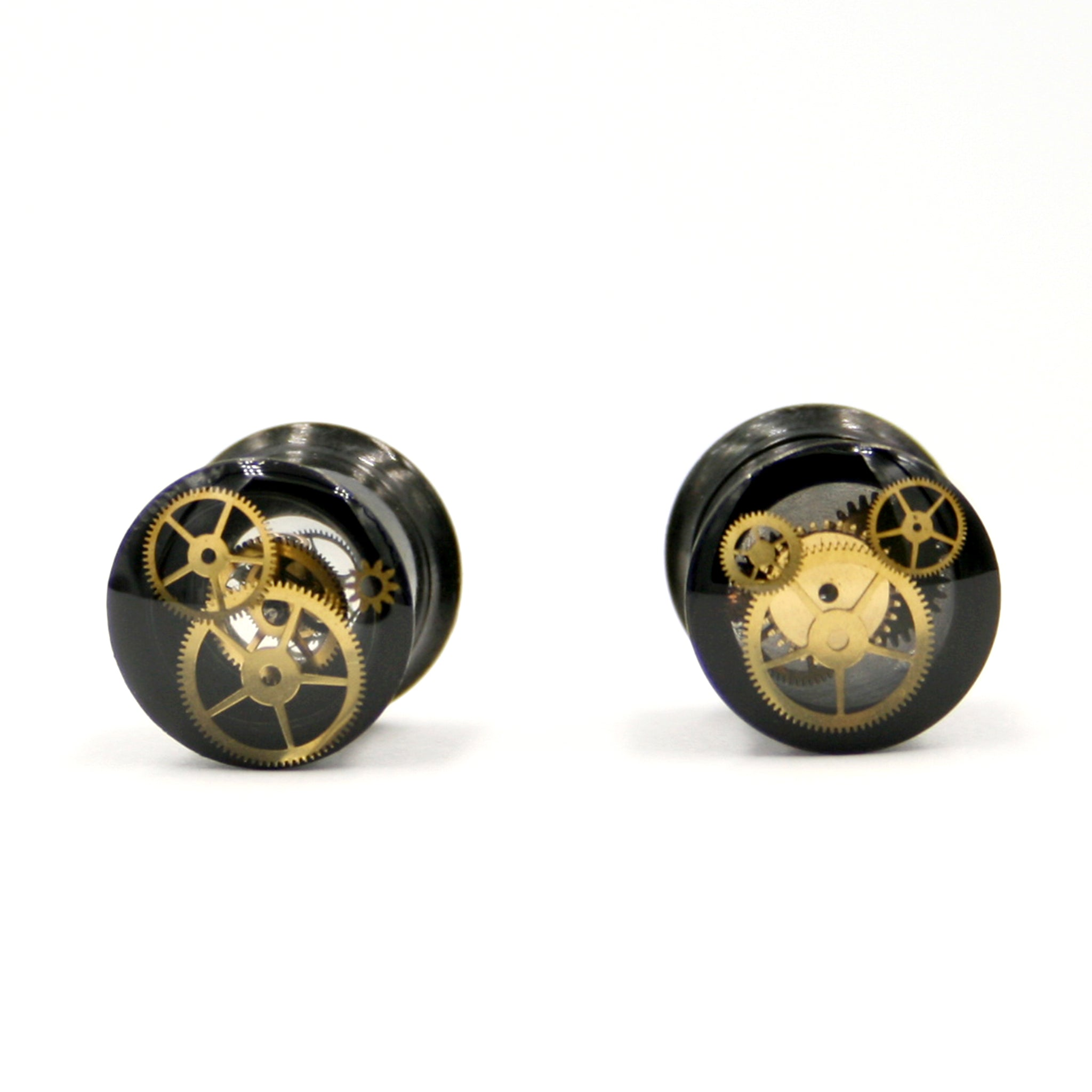 8mm double flare small ear gauges in steampunk style