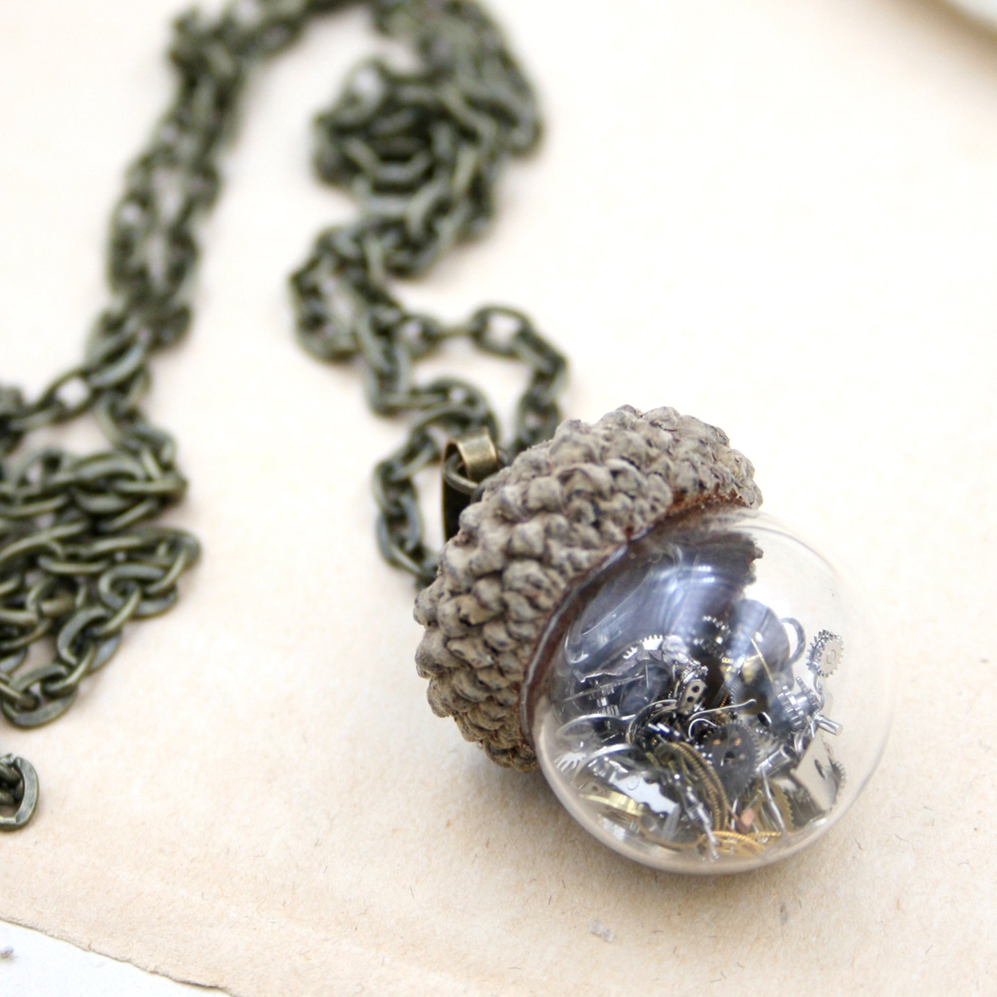 steampunk terrarium pendant necklace made of glass with real acorn top