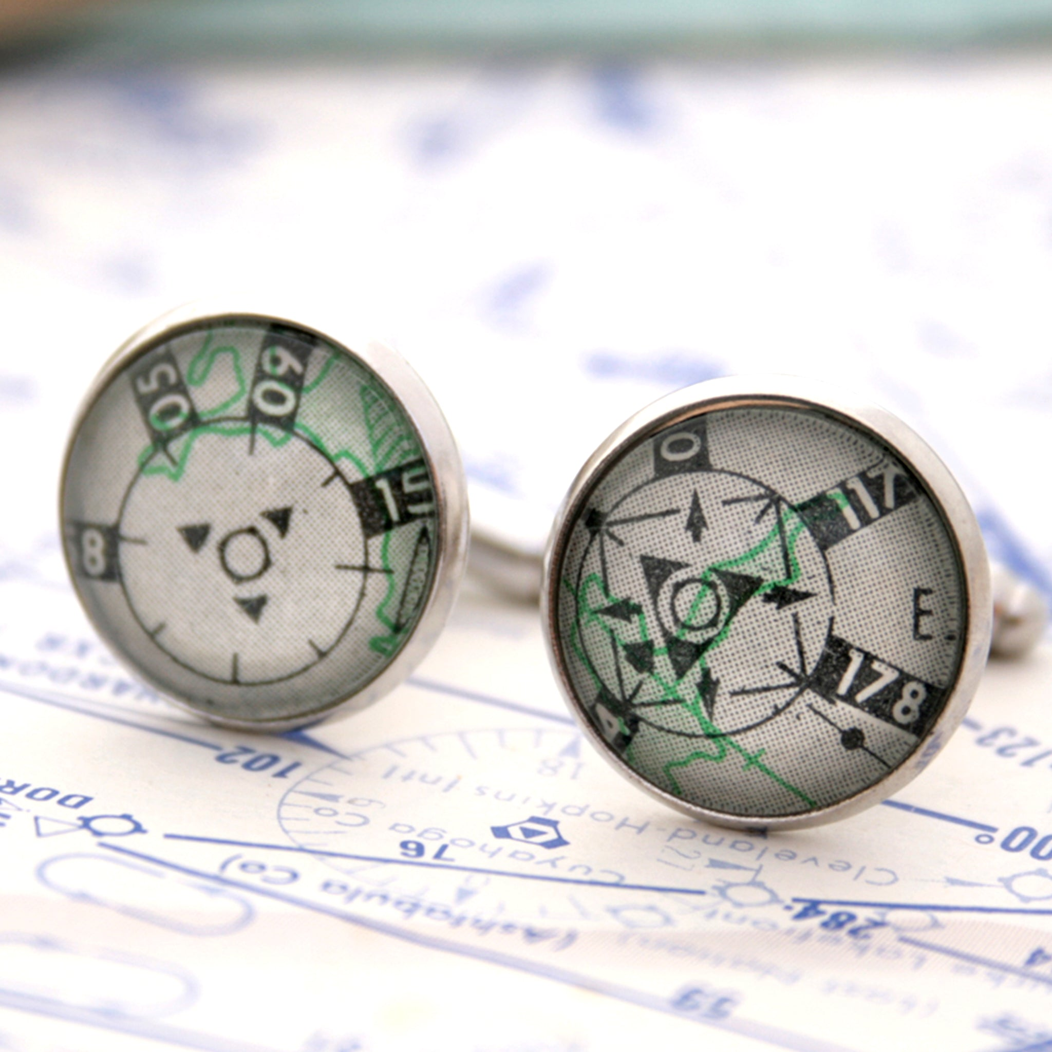 Aeronautical map cufflinks