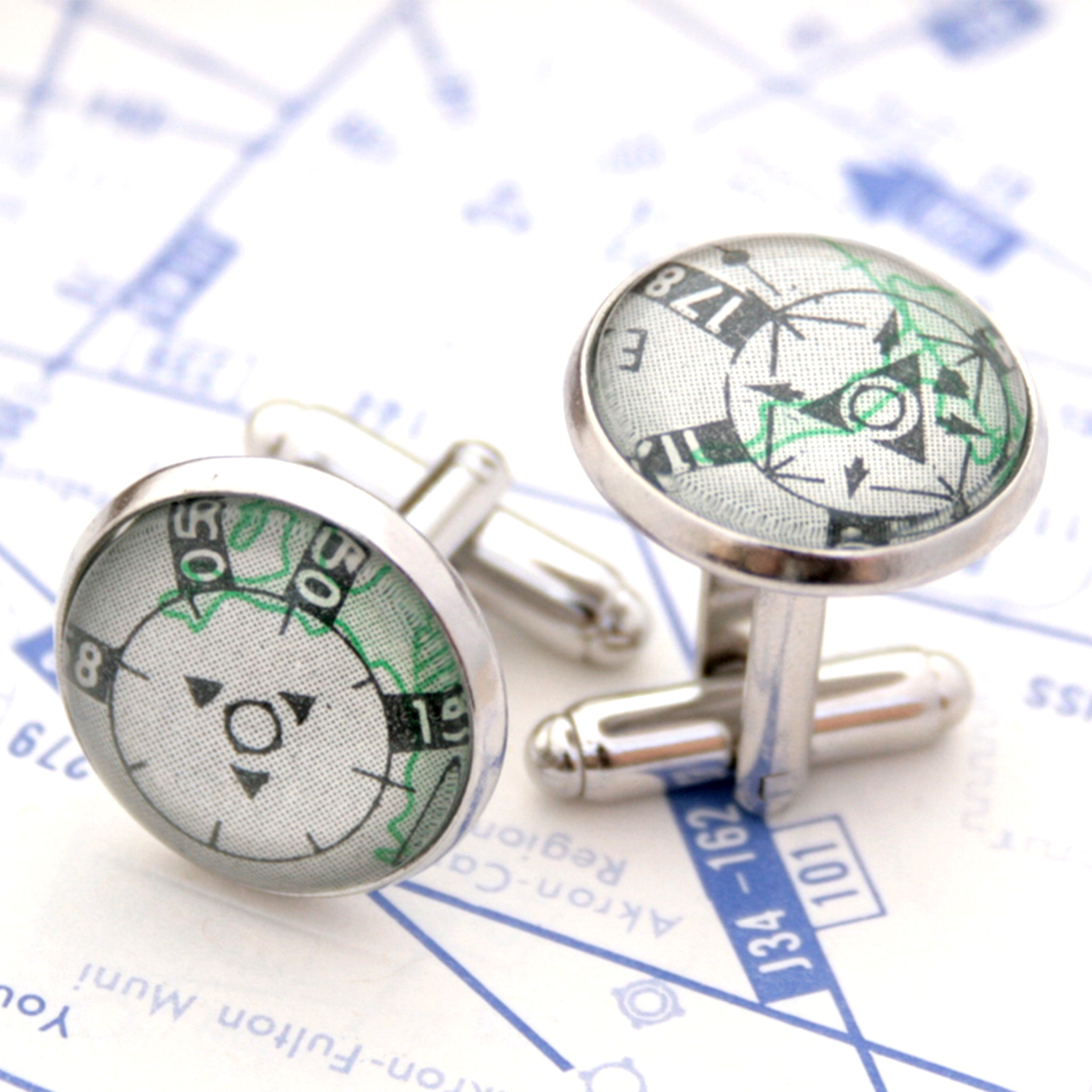 Pilot cufflinks made of aeronautical charts