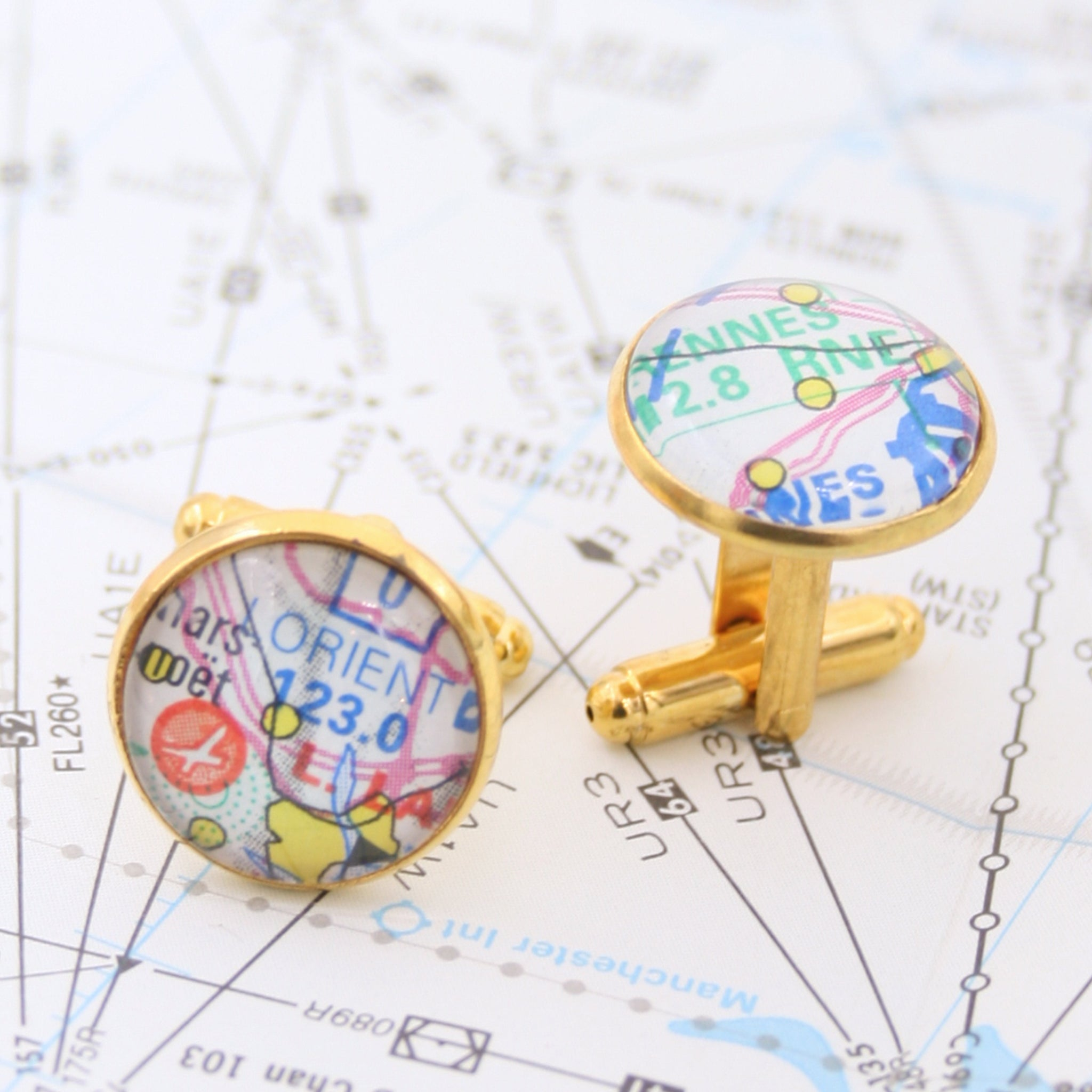 Pilot cufflinks in gold tone made of aeronautical charts