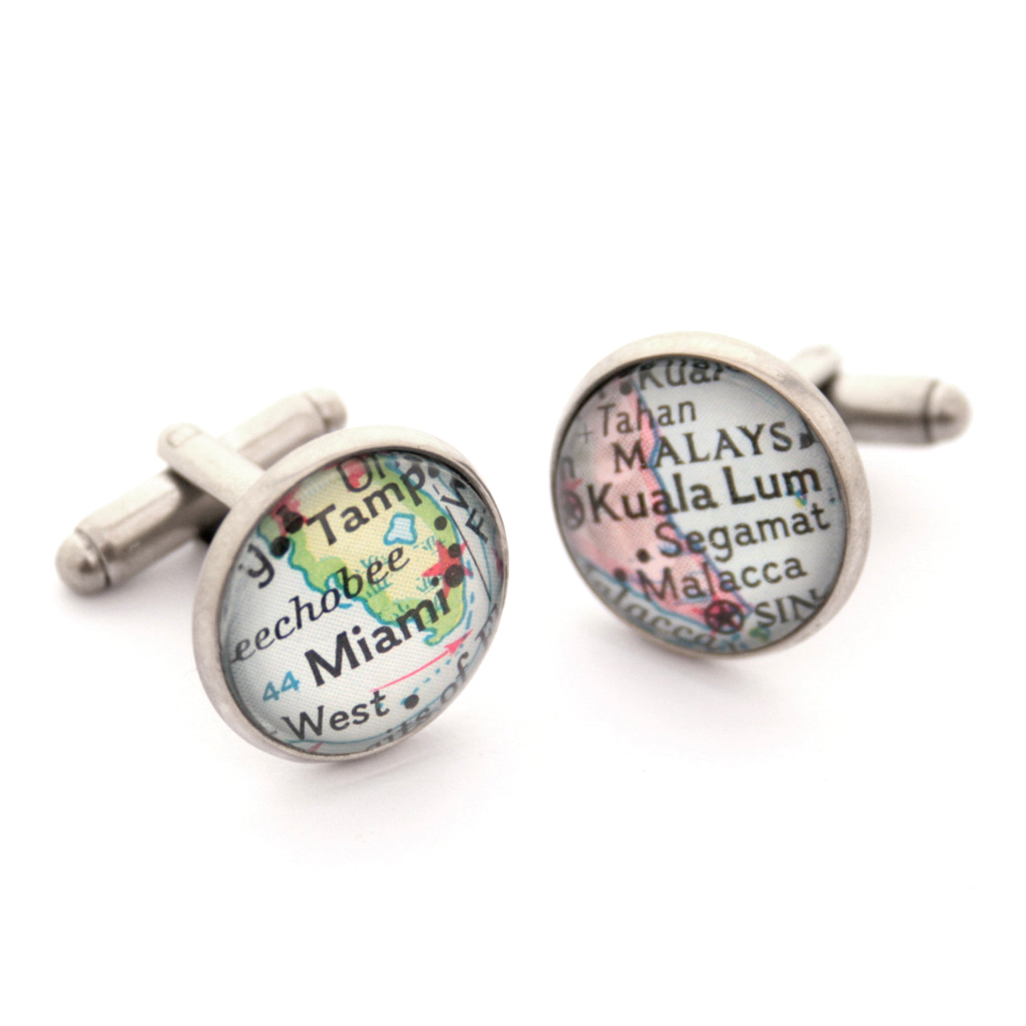 Personalised map cufflinks in antique silver colour featuring Kuala Lumpur and Miami