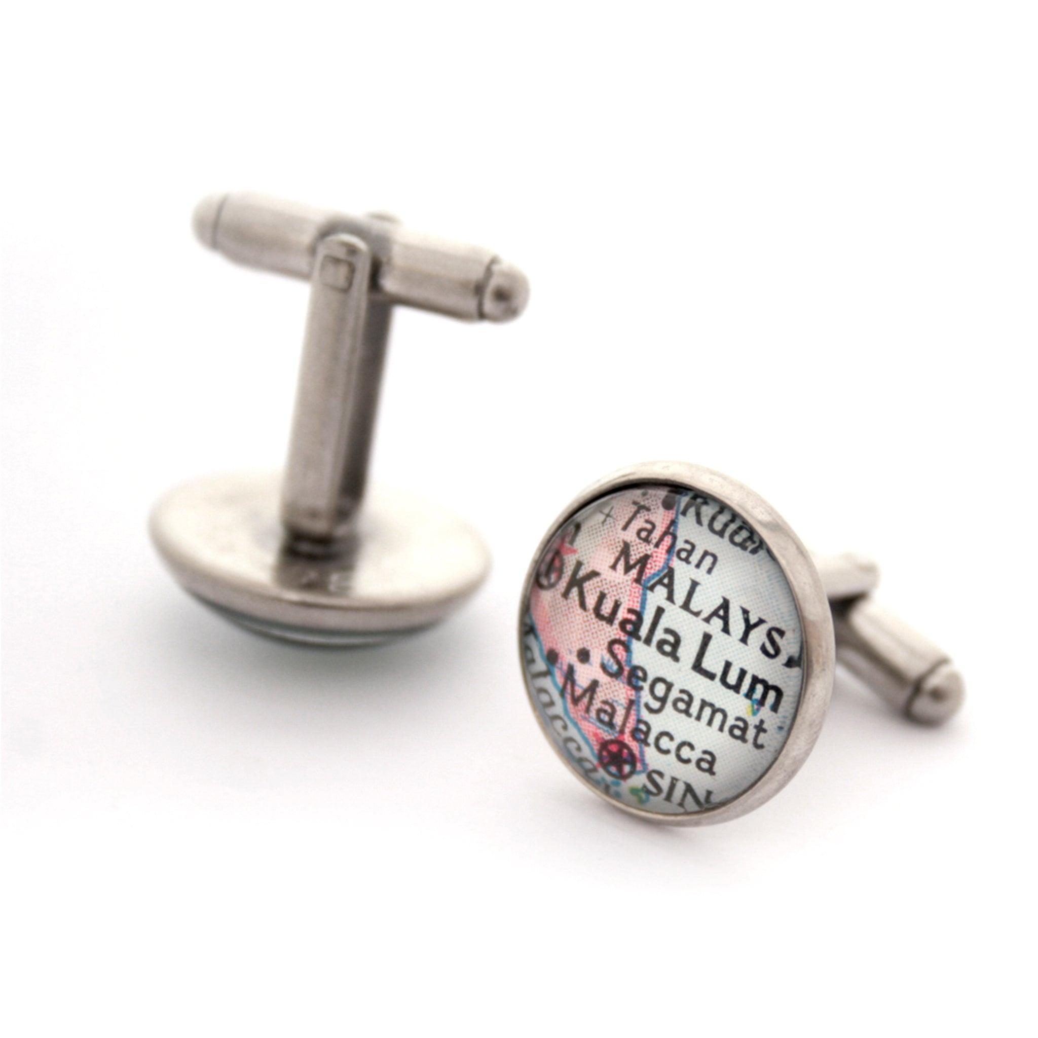 Personalised map cufflinks in antique silver colour featuring Kuala Lumpur