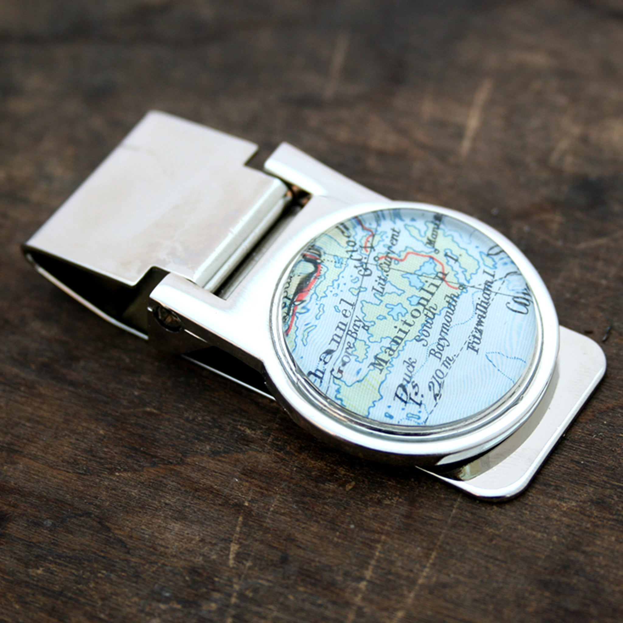money clip personalised with geographical map