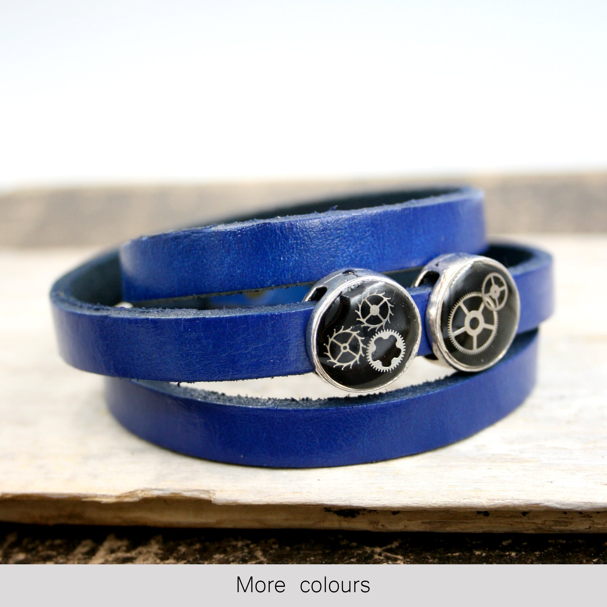 Blue Steampunk Leather Wrap Bracelet with black beads