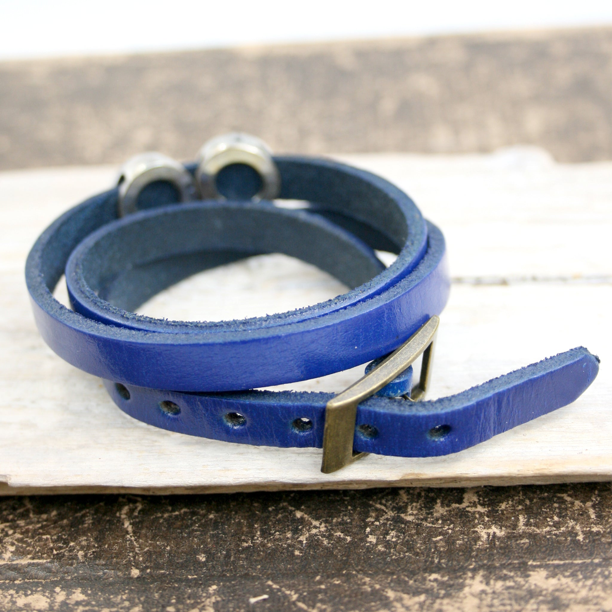 Blue Steampunk Leather Wrap Bracelet buckle