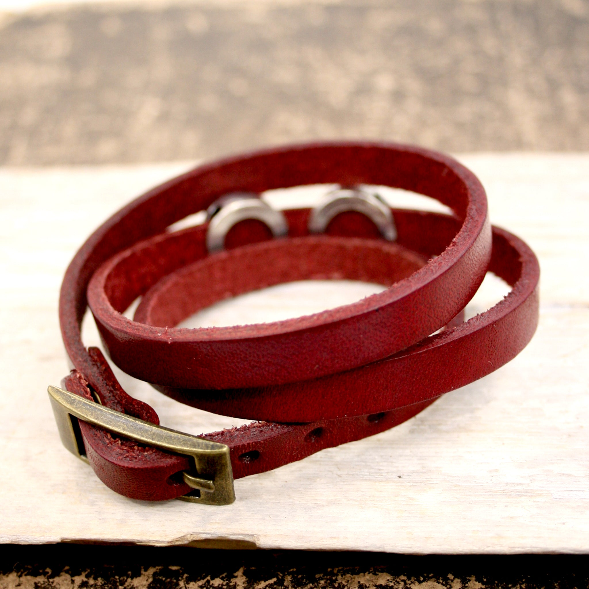 Crimson Red Steampunk Leather Wrap Bracelet with black beads