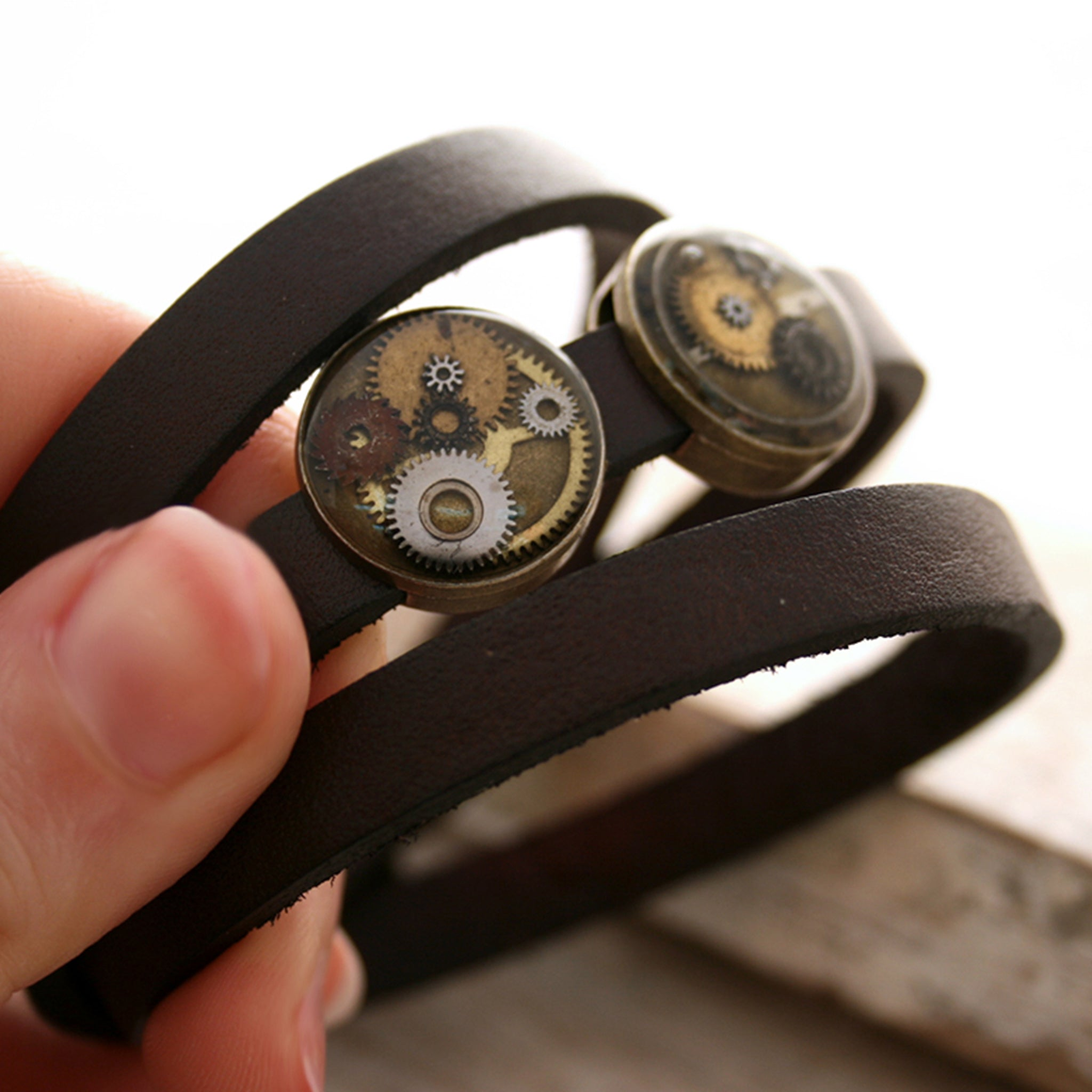 Dark Brown Steampunk Triple Wrap Leather Bracelet with brown beads