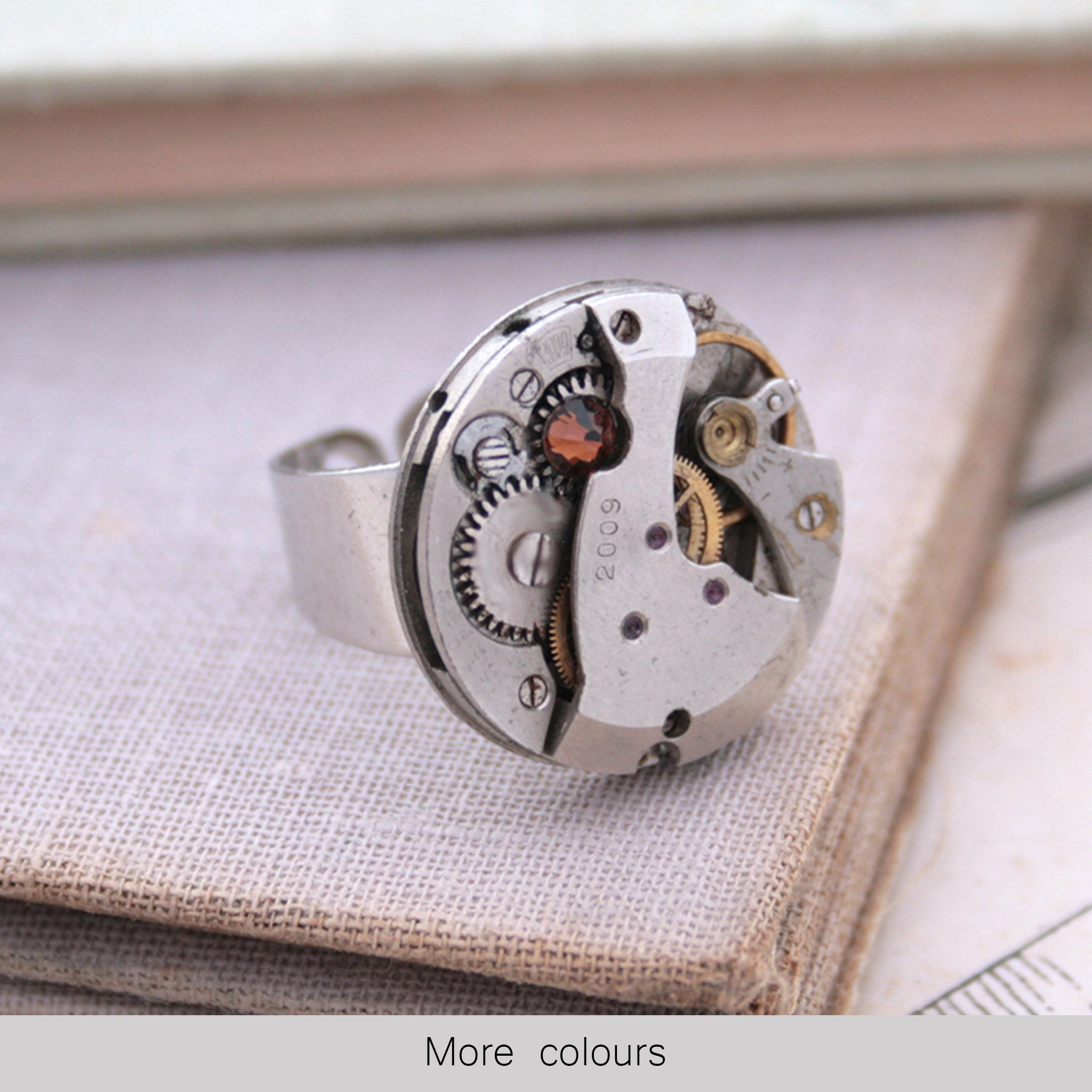 Topaz Birthstone Steampunk Ring on hand