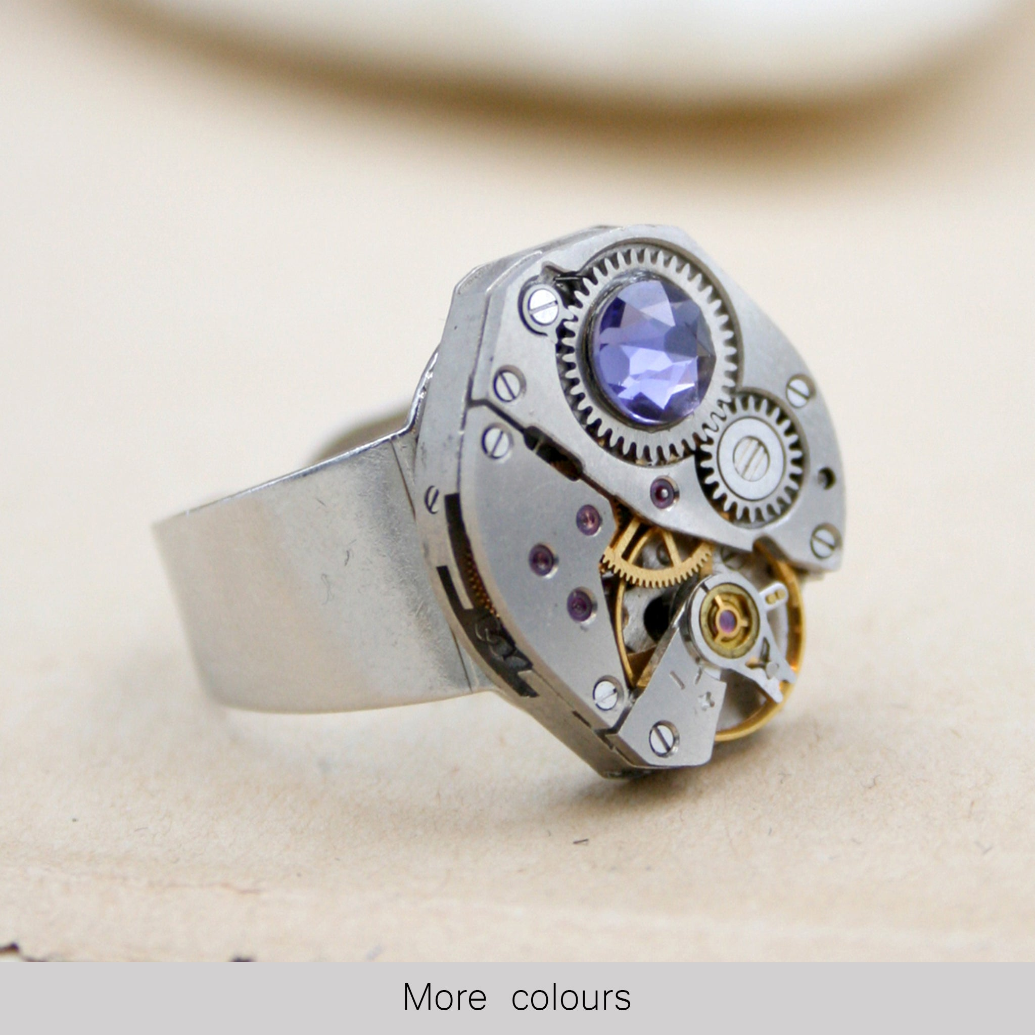 Steampunk Ring with Birthstone